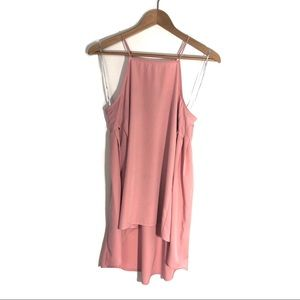 RO & DE Small Pink Square Neck High Low Cami Top